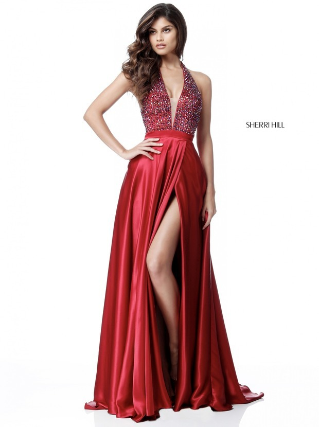 Sherri Hill 51636 Satin Halter High Slit Gown
