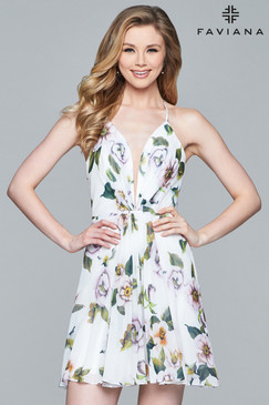 Faviana 8093 Floral Print Dress