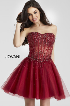 Jovani 55142 short strapless cocktail homecoming dress with a corset beaded bodice.