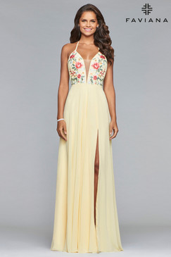 Faviana 10000 Floral Embroidered Simple Prom Dress
