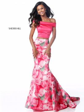 Sherri Hill 51849 Two Piece Off-the-Shoulder Floral Print Mermaid Dress