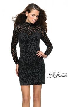 La Femme 26631 Velvet Long Sleeve Dress