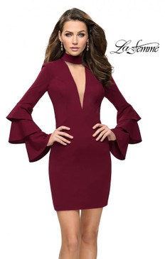 La Femme 26639 Long Bell Sleeve Dress