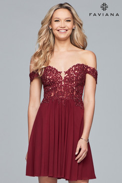 Faviana 10155 Short Off-The-Shoulder Homecoming Dress