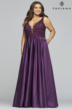 Faviana 9462 Satin Plus Size Dress