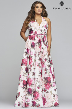 Faviana 9468 Floral Print Plus Size Dress