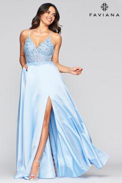 Faviana S10253 Satin Flowy Dress
