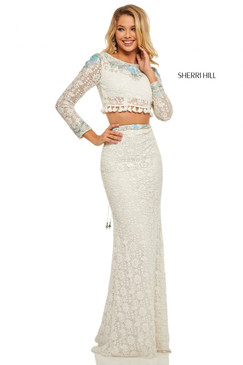 Sherri Hill 52809 Two Piece Long Sleeve Lace Dress