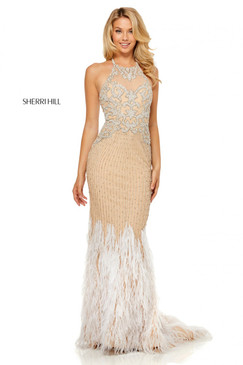 Sherri Hill 52517 Beaded Feather Dress