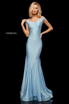 Sherri Hill 52783 Simple Off the Shoulder Dress