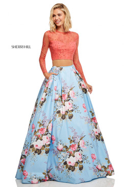 Sherri Hill 52717 Two Piece Floral Print Long Sleeve Dress
