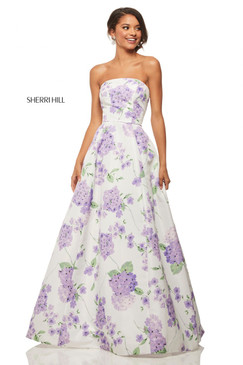 Sherri Hill 52865 Strapless Floral Print Dress