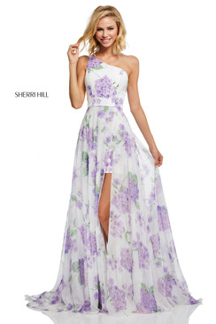 Sherri Hill 52727 One Shoulder Floral Print Dress