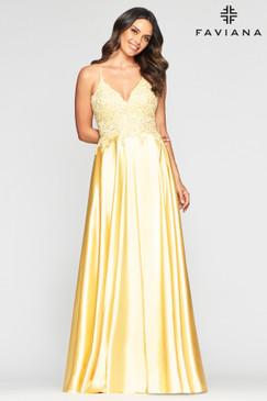 Faviana S10400 Satin A-Line Dress