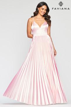 Faviana S10404 Pleated Satin Dress