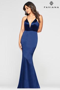 Faviana S10409 Simple Satin Dress