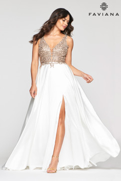 Faviana 10407 Flowy Satin Dress