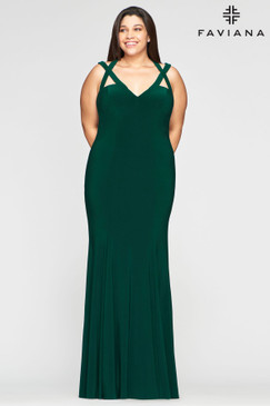 Faviana 9485 Fitted Jersey Plus Size Dress