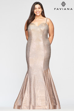 Faviana 9491 Metallic Mermaid Plus Size Dress