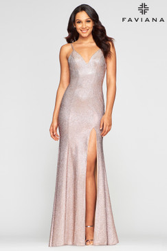 Faviana S10427 Metallic Dress