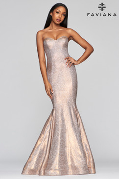 Faviana S10426 Strapless Metallic Mermaid Dress