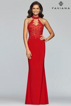 Faviana 7750 Jersey Lace Dress