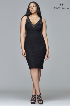 Faviana 9411 Black Lace Dress