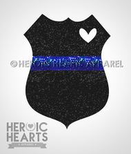 Glitter Police Shield with Heart Decal