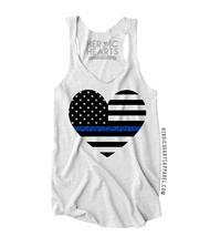 American Heart Flag Thin Blue Line Top