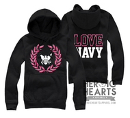 LOVE Navy Crest Emblem Top