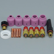 TIG Welding Torches Stubby Gas Lens Collets Alumina Nozzles Back Cap Kit For SR WP 17 18 26 Series 16pcs