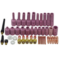 TIG Gas Lens Back Cap Collet Body Assorted Size Fit TIG Welding Torch SR WP17 18 26 44pcs