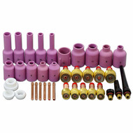 TIG Gas Lens Collets Body Alumina Nozzle Back Cap Kit Fit SR WP 17 18 26 TIG Welding Torch 37pcs