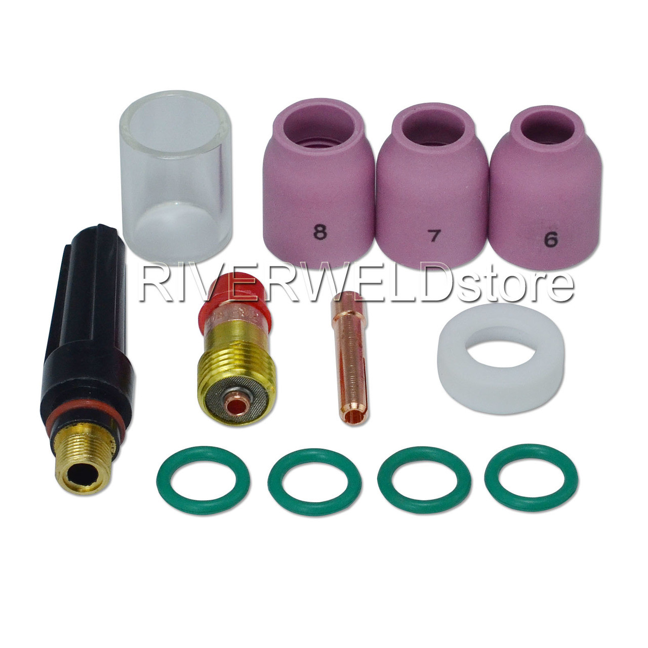 "18 pcs TIG Welding Torch Gas Lens Kit WP-17 WP-18 WP-26 WZ8 1//16/"" 3//32/"" 1//8/"""