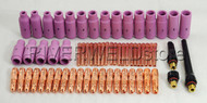 TIG Collet body Alumina Nozzle Back Cap & SR WP 17 18 26 TIG Welding Torch 63pcs