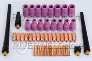 53 pcs TIG Welding Torch Spare Parts Replacement Kits Collet Alumina WP 9 20 25