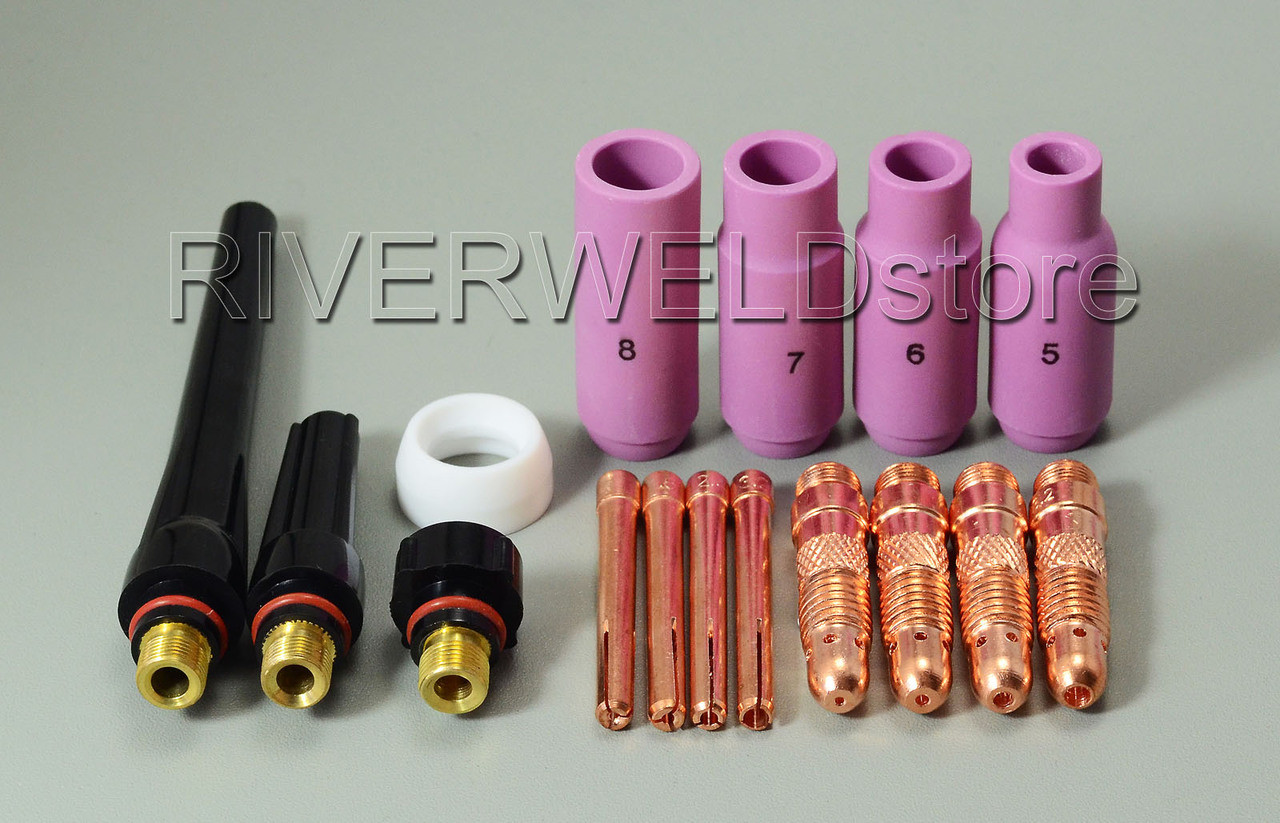 16pcs TIG Gas Lens Collet Body Consumables Kit Fit WP 17 18 26 TIG Welding Torch