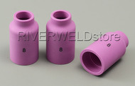 54N14 8# Alumina Nozzle GAS Lens Fit SR DTA DB WP 17 18 26 TIG Welding Torch 3PK