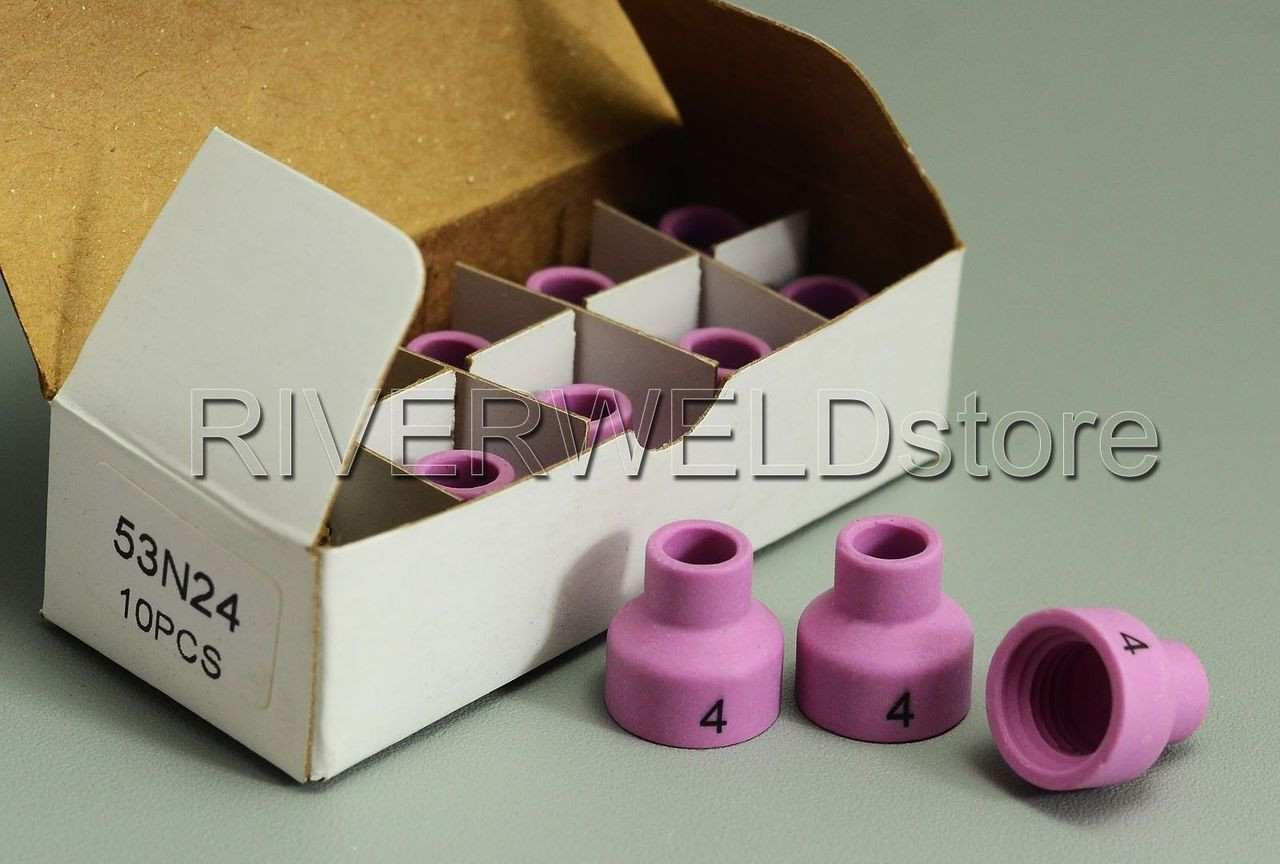 TIG Welding 53N24 # 4 Alumina Cup Gas Lens Ceramic Nozzle fits WP24//24W 10 Pack