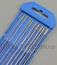 """1.5% Lanthanated WL15 Gold TIG Tungsten Electrodes Assorted Size 0.040""""~1/8"""",10pk"""
