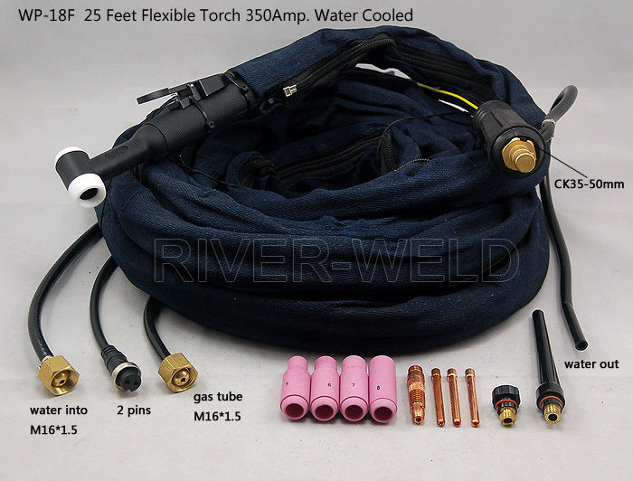 TIG Welding Torch  Flexible Head Body 350Amp Water-Cooled for WP-18F SR-18F
