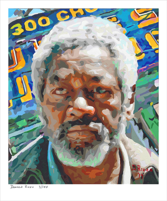 Shop for Deprivation a mental health portrait by San Francisco artist Donald Rizzo. Abstract verism in kaleidoscopic visions of vibrant colors.