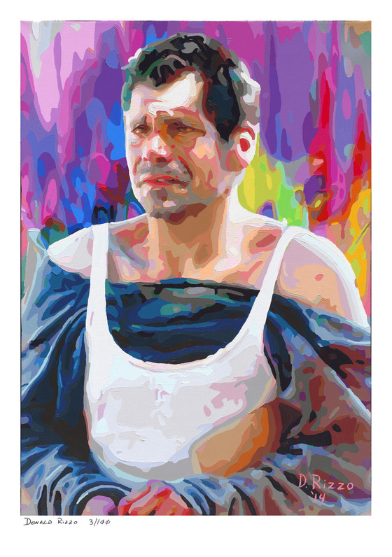 Shop for misery a mental health portrait by San Francisco artist Donald Rizzo. Abstract verism in kaleidoscopic visions of vibrant colors.