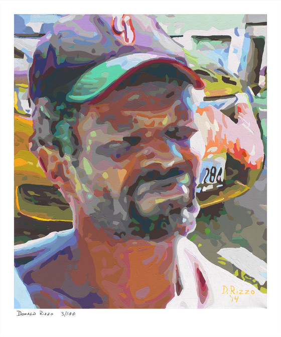 """Shop for """"Scofflaw"""" a mental health portrait by San Francisco artist Donald Rizzo. Abstract verism in kaleidoscopic visions of vibrant colors."""