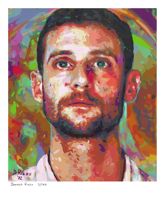 """Shop for """"Sins of our Fathers"""" a mental health portrait by San Francisco artist Donald Rizzo. Abstract verism in kaleidoscopic visions of vibrant colors."""