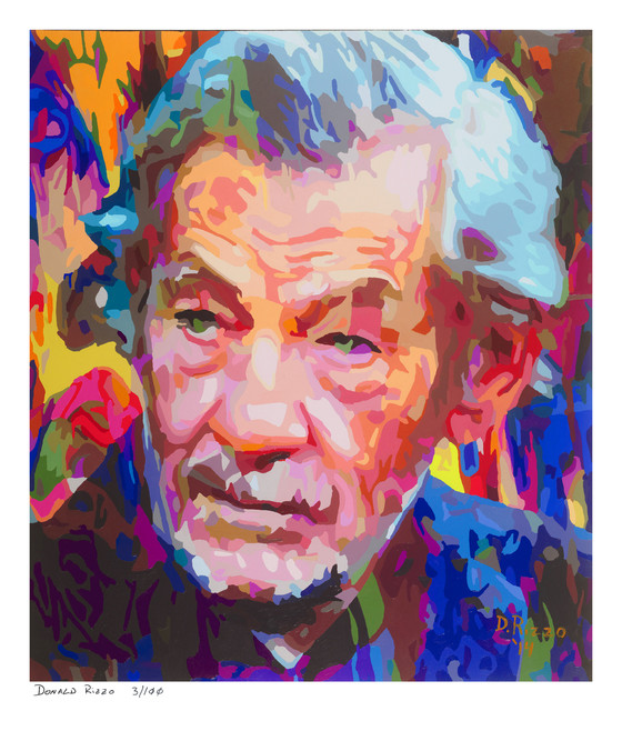 """Shop for a Portrait of Sir Ian McKellen  in """"Stonewall"""" a limited edition print by San Francisco gay artist Donald Rizzo. Abstract verism in kaleidoscopic visions of vibrant colors."""