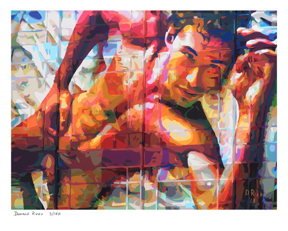 "Shop for Gay Male Art ""Union Square"" a Limited Edition Print by San Francisco artist Donald Rizzo. Donald Rizzo paints kaleidoscopic visions of vibrant colors."