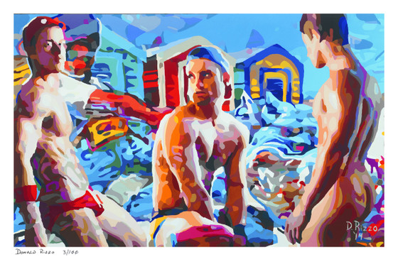 """Shop for Gay Male Art """"who let the dogs out"""" a limited edition print by San Francisco artist Donald Rizzo. Donald Rizzo paints kaleidoscopic visions of vibrant colors."""