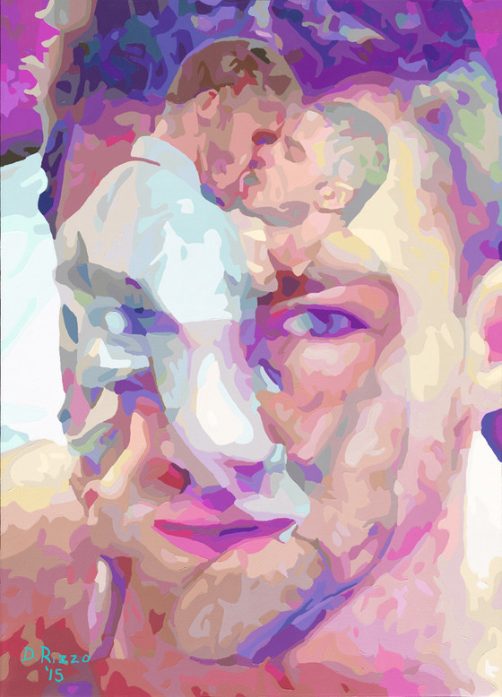 "Gay Male Art paintings ""Embracing Desire"" by San Francisco artist Donald Rizzo. Rizzo paints optical illusions in a style call Ambiguous Delusions."