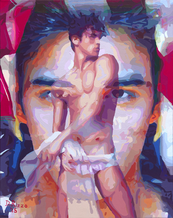 "Gay Male Art paintings ""All American Boy""  by San Francisco artist Donald Rizzo. Rizzo paints optical illusions in a style call Ambiguous Delusions."